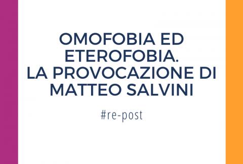 """Salvini contro legge omofobia """"allora facciamo legge contro eterofobia"""""""